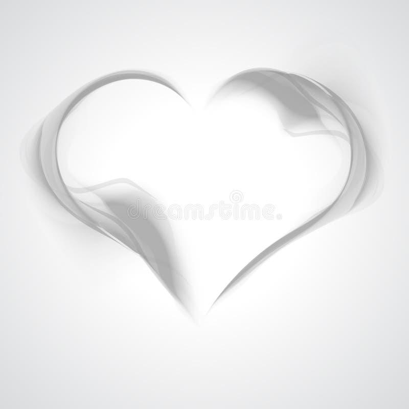 从烟的抽象灰色波浪背景心脏 库存例证