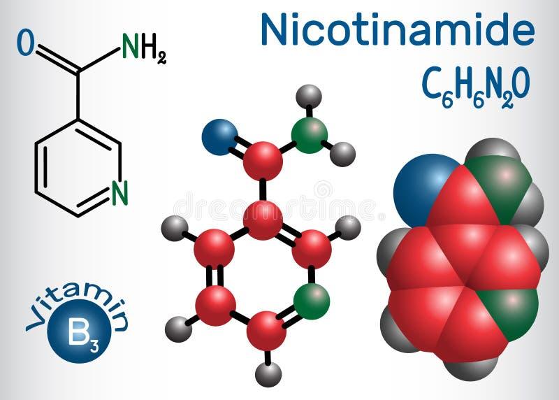 烟碱NAA分子,是在食物B3找到的维生素,用途 皇族释放例证