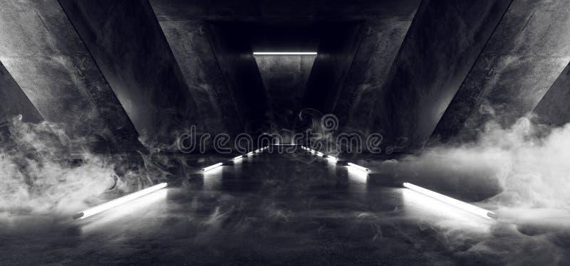烟科学幻想小说未来派外籍人太空飞船明亮的水泥难看的东西混凝土车库地下隧道霍尔发光的Windows铅白 向量例证