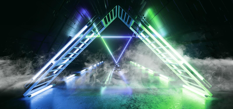 烟科学幻想小说未来派技术概要主板矩阵芯片反射性门门霓虹发光的三角激光蓝色 库存例证