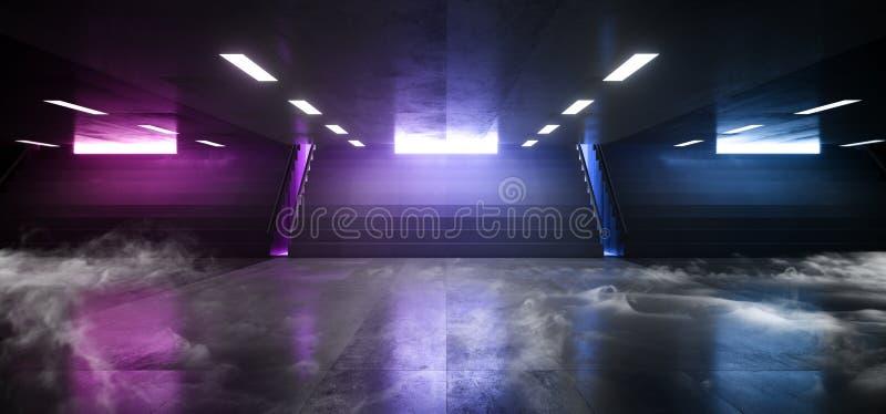 烟科学幻想小说未来派霓虹灯箭头形状霍尔黑暗的空的地下隧道走廊台阶标志光紫色蓝色 库存例证
