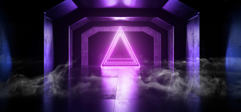 烟科学幻想小说未来霓虹紫色蓝色发光的三角塑造地下充满活力的激光塑造难看的东西的空的黑暗的太空飞船隧道 向量例证