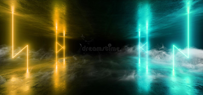 烟科学幻想小说氖打雷发光的轻的充满活力的小野鸭蓝色阶段夜总会背景难看的东西具体黑暗的隧道霍尔走廊 皇族释放例证
