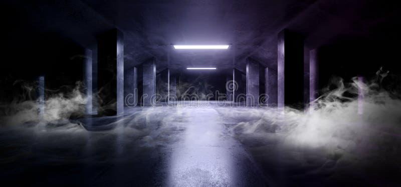 烟科学幻想小说现代黑暗的具体水泥沥青未来派太空飞船典雅的地下车库隧道走廊空的空间蓝色 皇族释放例证