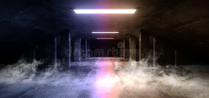 烟科学幻想小说现代黑暗的具体水泥沥青未来派太空飞船典雅的地下车库隧道走廊空的空间 向量例证