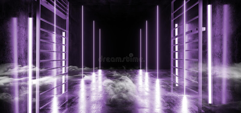 烟科学幻想小说霓虹发光的紫色紫外充满活力的虚拟现实网络激光展示阶段长的具体隧道走廊 向量例证