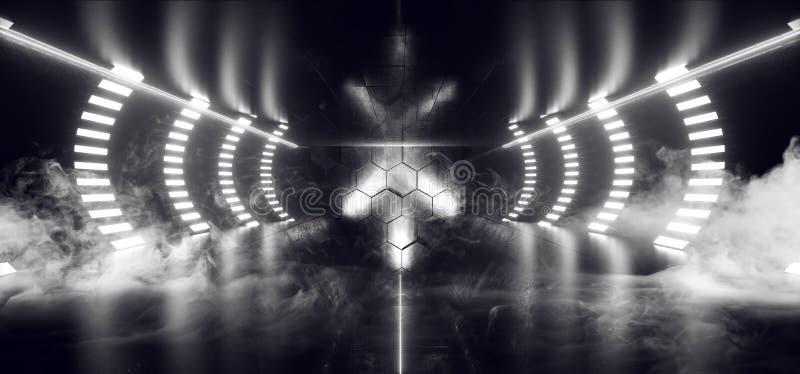 烟科学幻想小说霓虹建筑卵形激光未来派科学幻想小说地板光滑的反射性黑暗的霍尔演播室走廊地下室 向量例证
