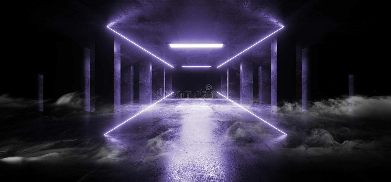 烟科学幻想小说霓虹现代未来派充满活力的焕发紫色紫罗兰色激光展示阶段轨道道路入口门地下车库霍尔 皇族释放例证