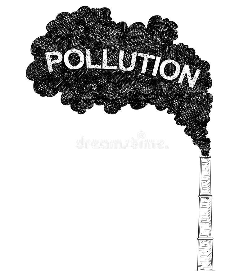 烟窗、产业或者工厂大气污染的传染媒介艺术性的图画例证 库存例证