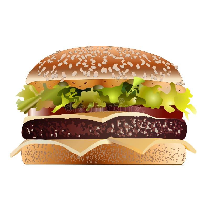 烟肉乳酪汉堡 库存例证