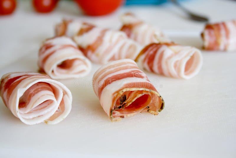 烟肉食物滚的集合片式 图库摄影