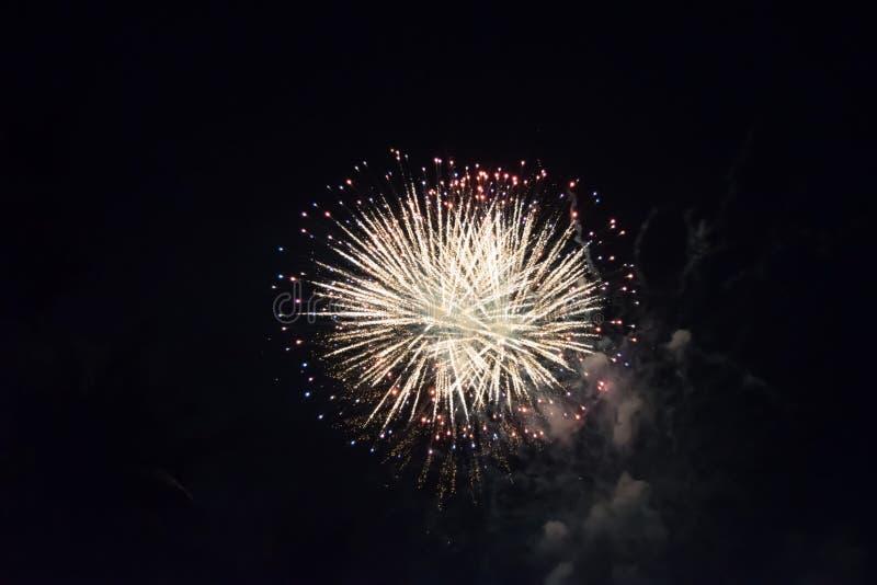 烟花五颜六色的光在芭达亚海滩的新年的晚上 图库摄影