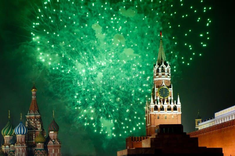 烟花克里姆林宫莫斯科 免版税库存图片