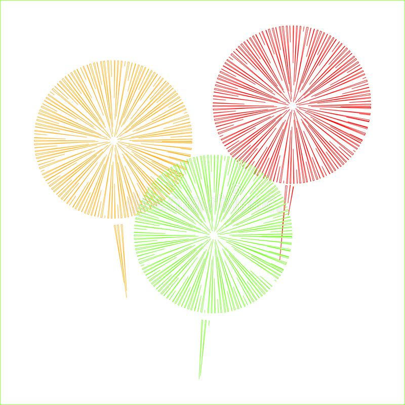 烟花在白色背景的三种颜色 库存图片