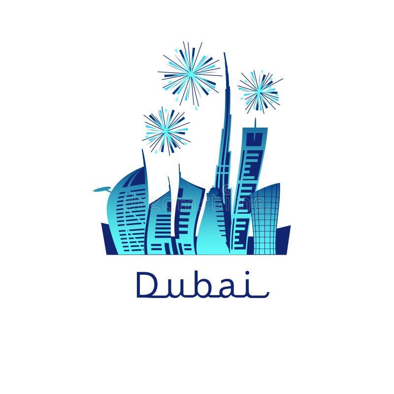 烟花在迪拜市 库存例证