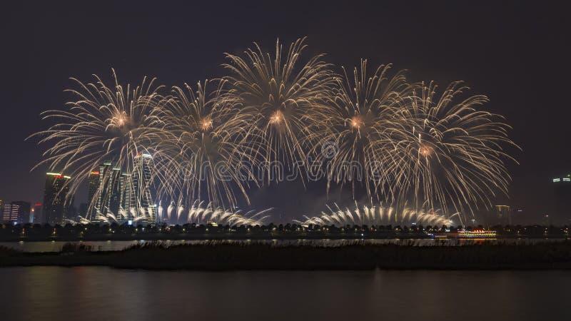 烟花在长沙,中国 免版税库存照片