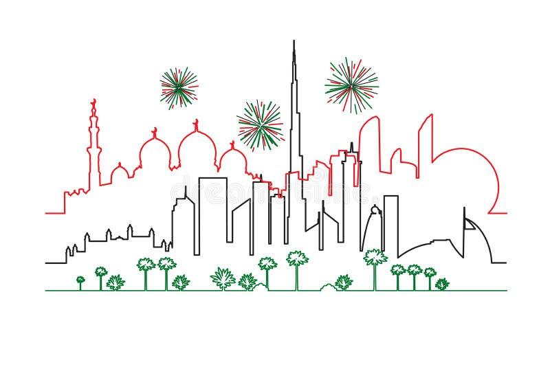 烟花在阿拉伯联合酋长国迪拜和国旗col的阿布扎比市 向量例证