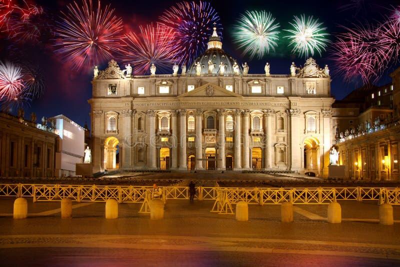烟花意大利罗马梵蒂冈 库存照片