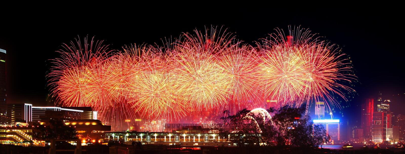 烟花港口香港维多利亚 免版税图库摄影