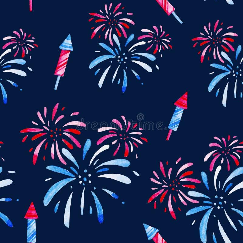 烟花节日 水彩样式假日,第4 7月,团结陈述的独立日 印刷品的,卡片设计 库存例证