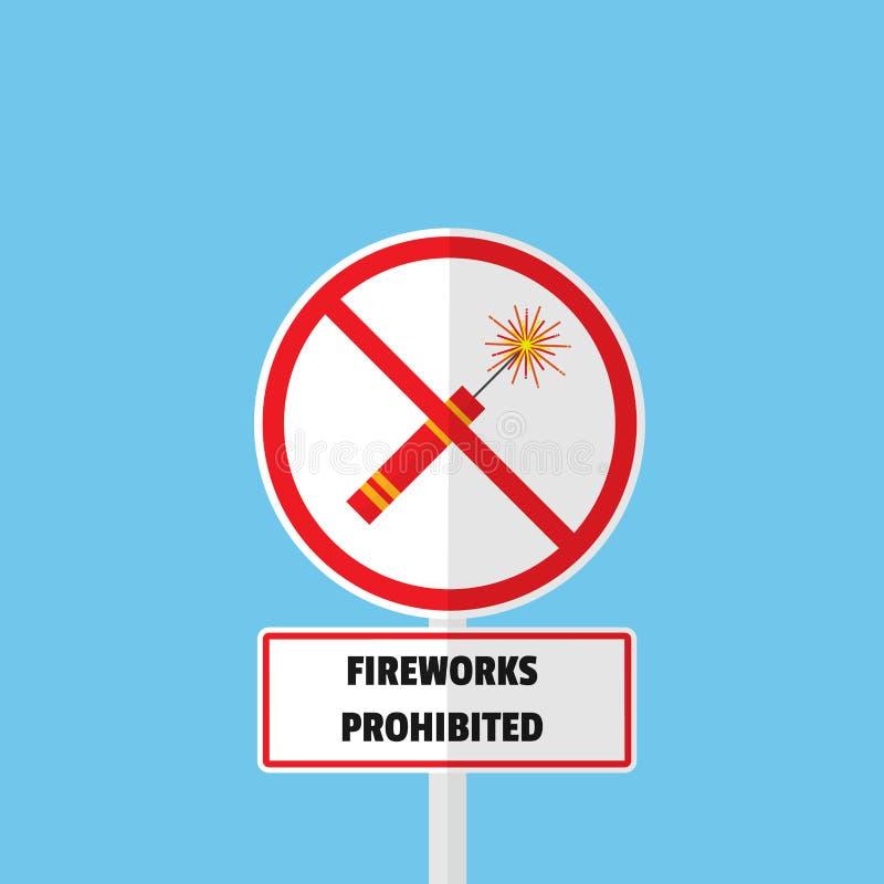 烟花被禁止的标志平的传染媒介设计 皇族释放例证