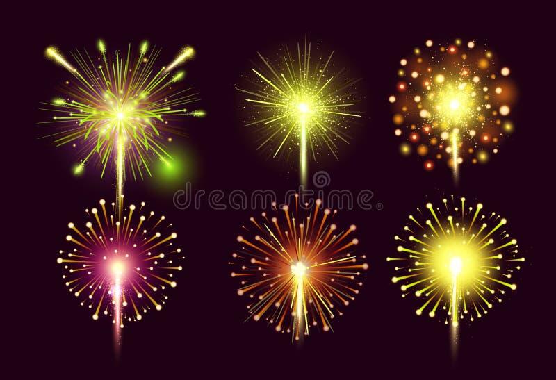 烟花设置了 五颜六色的明亮的欢乐现实传染媒介烟花例证 新年圣诞节烟花爆炸 皇族释放例证