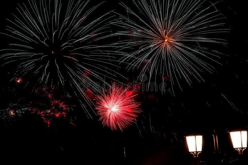烟花,在夜空的致敬 免版税库存图片