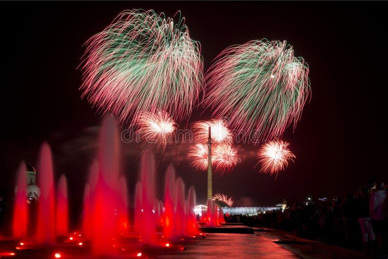 烟花以纪念在9的胜利天在莫斯科可以 免版税图库摄影