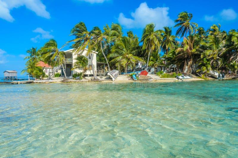 烟草Caye -放松在客舱或平房在小热带海岛上在堡礁与天堂海滩,加勒比海,伯利兹, 免版税库存照片