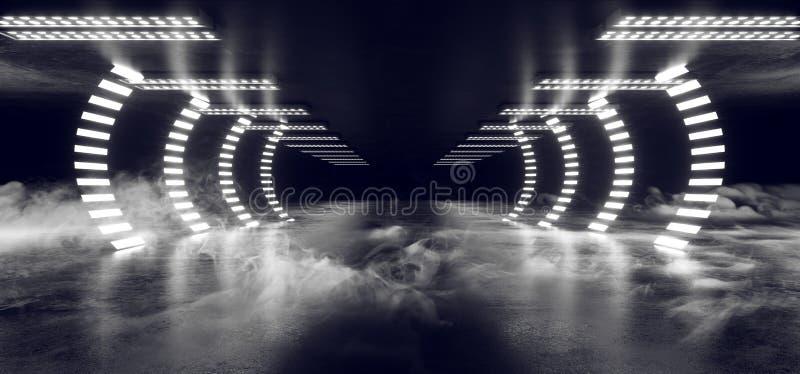 烟蒸汽雾曲拱门道路霓虹发光的科学幻想小说白色未来派具体空的难看的东西反射性室萤光光亮 皇族释放例证