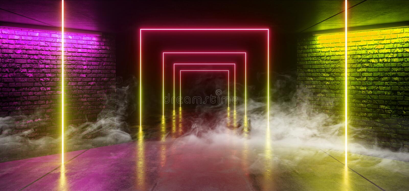烟雾具体难看的东西砖走廊隧道黑暗的霍尔反射性霓虹发光的科学幻想小说未来派现代道路彩虹绿色 皇族释放例证