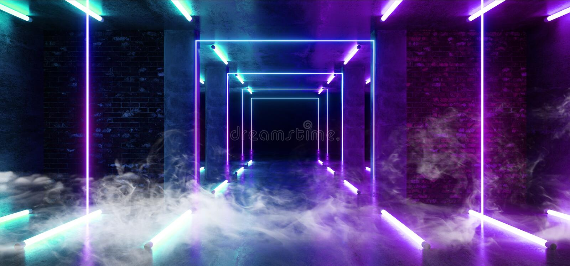 烟雾具体难看的东西砖走廊隧道黑暗的霍尔反射性霓虹发光的科学幻想小说未来派现代道路紫色蓝色 库存例证