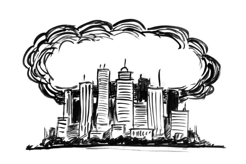 烟雾和空气污染包括的城市贷方难看的东西手图画 皇族释放例证