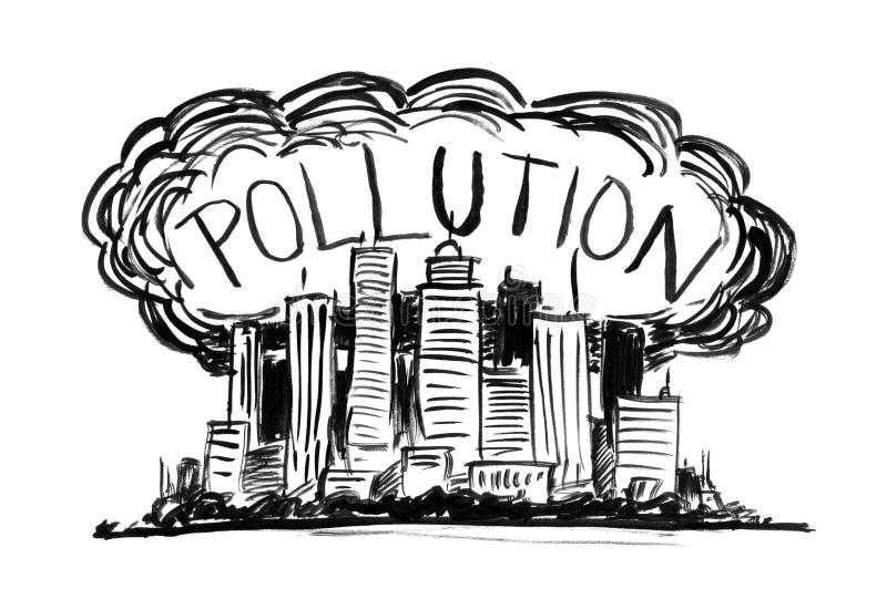 烟雾和空气污染包括的城市贷方难看的东西手图画 向量例证