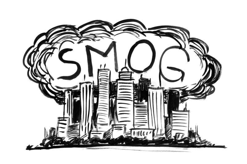 烟雾和空气污染包括的城市贷方难看的东西手图画 库存例证