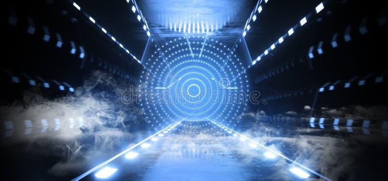 烟雾外籍人科学幻想小说未来派太空飞船圈子发光的矩阵霓虹激光蓝色反射在具体Sufrace黑暗空 库存例证