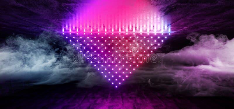 烟雾科学幻想小说未来派网络现代外籍人舞蹈减速火箭的俱乐部阶段霓虹激光小点三角形状的发光的紫色桃红色蓝色 皇族释放例证