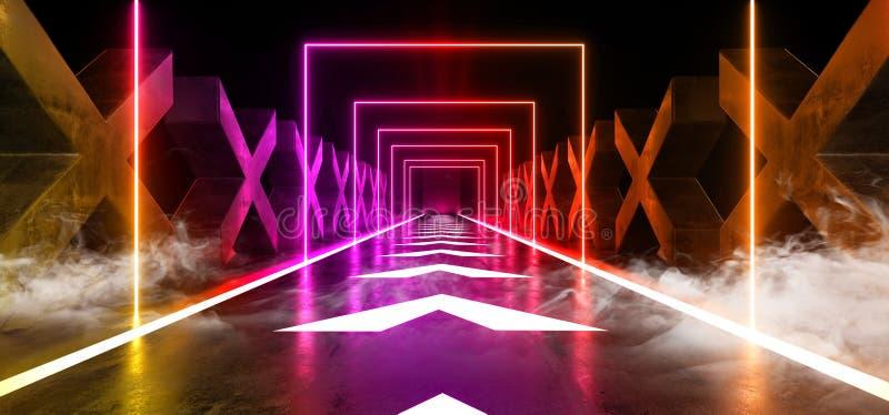 烟雾箭头跟踪具体难看的东西砖走廊隧道黑暗的霍尔反射性霓虹发光的科学幻想小说未来派现代道路 向量例证