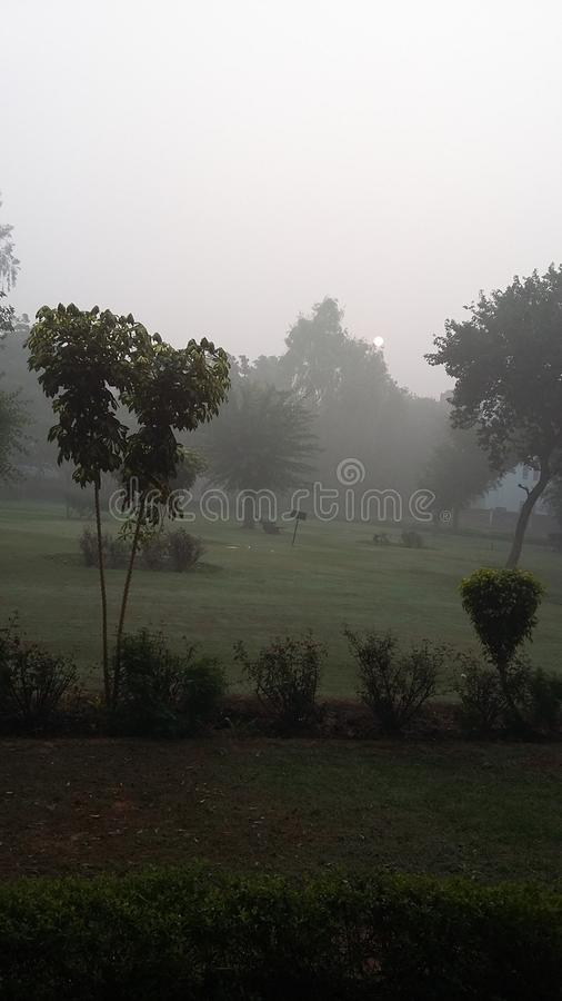烟雾退色太阳的力量 新德里的一个Smogy早晨 免版税库存照片