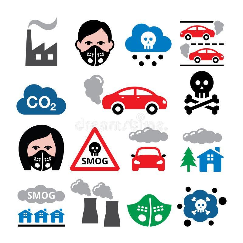 烟雾,污染,反pollsution面具象设置了-生态,环境概念 皇族释放例证