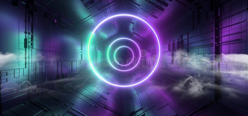 烟霓虹发光的激光蓝色紫色圈子科学幻想小说未来派技术概要主板矩阵芯片反射性门门户 皇族释放例证