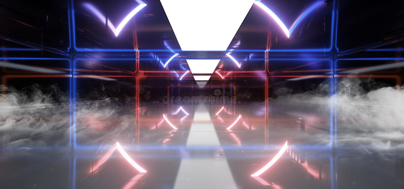 烟霓虹发光的紫色蓝色激光科学幻想小说未来现代门门真正网络充满活力的长方形摘要形状的隧道 皇族释放例证