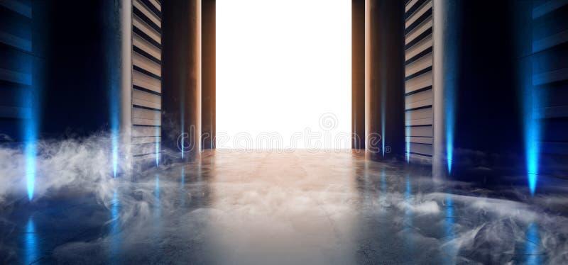 烟霓虹激光萤光蓝色小野鸭未来派车库陈列室隧道走廊具体金属难看的东西反射性空的空间 库存例证