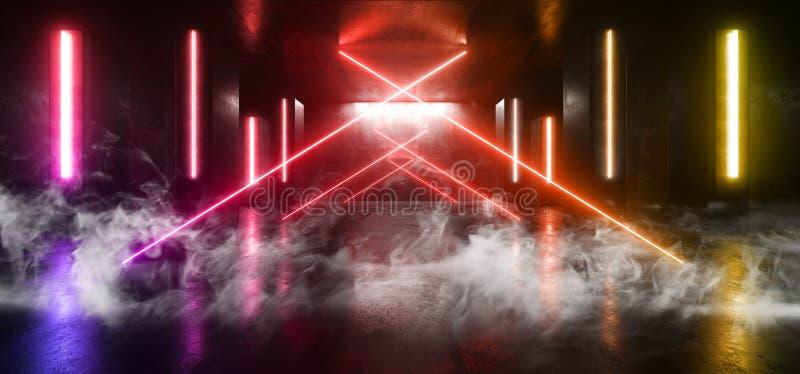 烟霓虹灯蓝色箭头塑造发光的充满活力的空的空间难看的东西具体隧道走廊阶段的未来派科学幻想小说紫色 向量例证