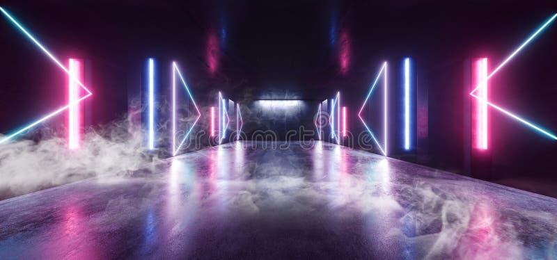 烟霓虹灯蓝色箭头塑造发光的充满活力的空的空间难看的东西具体隧道走廊阶段的未来派科学幻想小说紫色 库存例证