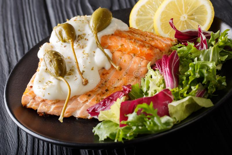 烤三文鱼内圆角用奶油沙司、雀跃,柠檬和新鲜 库存照片