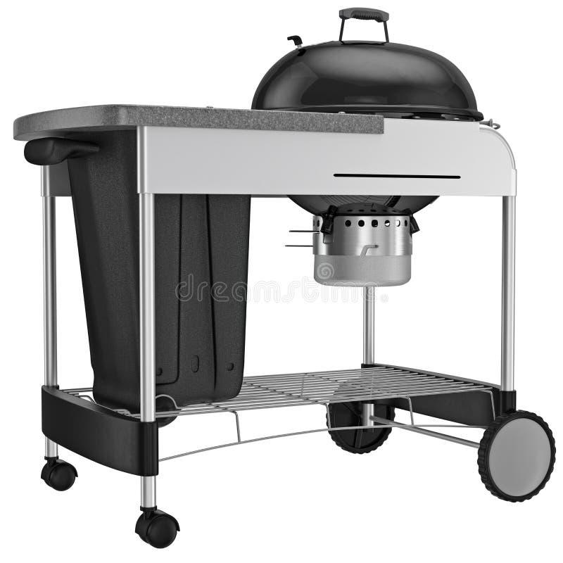 烤与抗热钢的木炭格栅 向量例证