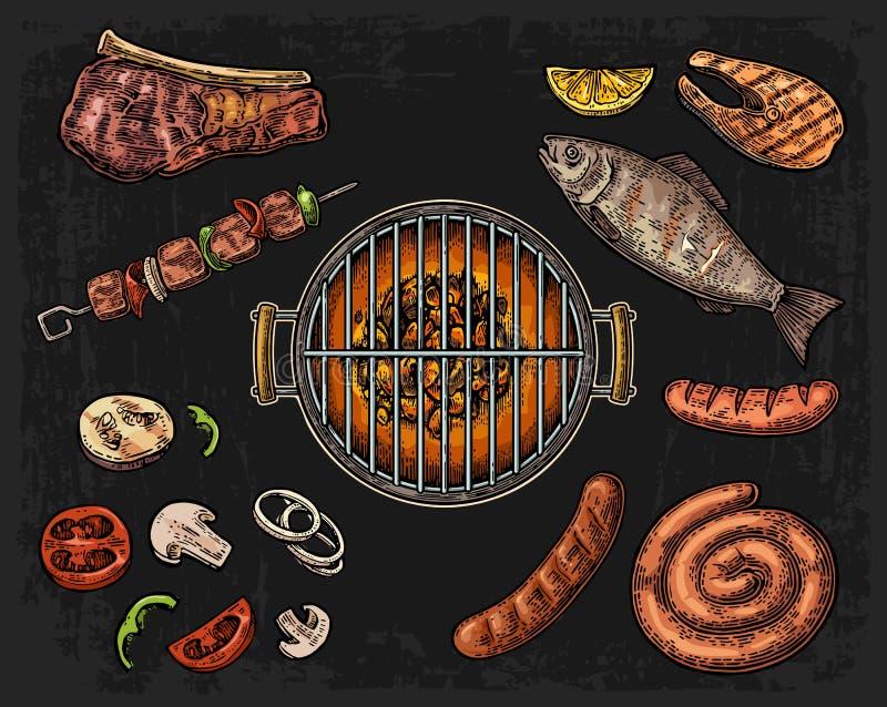 烤与木炭、蘑菇、蕃茄、胡椒、香肠、柠檬、鱼和牛排的格栅顶视图 食物餐馆菜单templat 向量例证