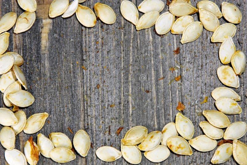 烤南瓜籽顶视图在木背景的 库存图片