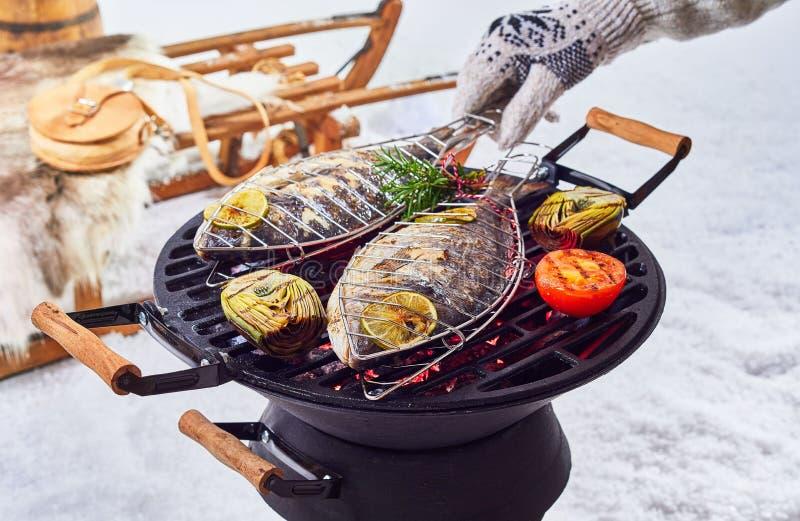 烤在冬天烤肉的两条整个鱼 库存照片
